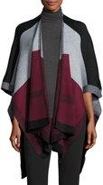 Neiman Marcus Colorblock Knit Ruana, Black/Gray/Wine