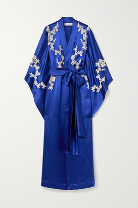 Carine Gilson Chantilly Lace-trimmed Silk-satin Robe - Cobalt blue