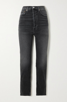 RE/DONE 70s Stove Pipe Cropped High-rise Straight-leg Jeans - Black