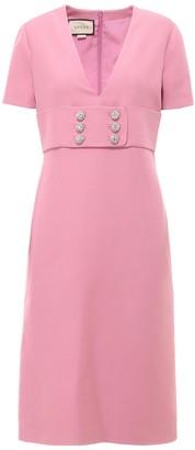 Gucci Rhinestone Detailed V-Neck Dress