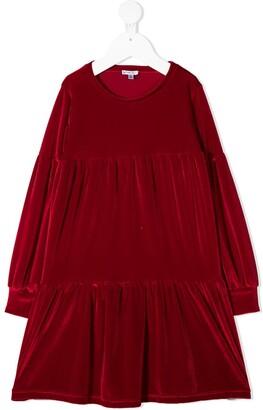 Piccola Ludo Tiered Velvet Dress