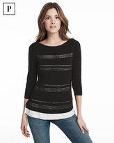 White House Black Market Petite Black Embroidered Stripe Pullover Sweater