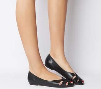 Office Fickle Peep Toe Flats Black Leather