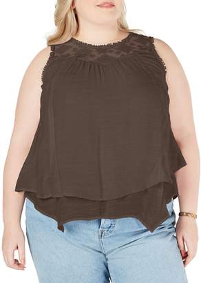 Style&Co. Style & Co. Plus Lace-Yoke Crochet-Trim Tiered Top