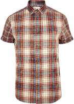 River Island Mens Red check short sleeve shirt