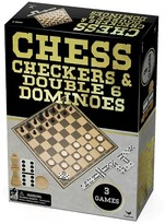 Cardinal Industries Chess Checkers Dominoes Classic Games - Gold/Black