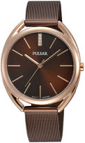 Pulsar Womens Crystal-Accent Brown Mesh Bracelet Watch