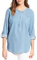 NYDJ Women's Tessa Denim Roll Sleeve Top