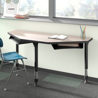 BEIGE Melamine Laminate Adjustable Height Multi-Student Desk Regency Desk Finish