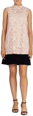 No.21 Lace And Velvet Drop-Waist Dress