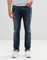 Diesel Thavar Slim Jeans 854t Dna Heavy Distressed Repair Dark Wash