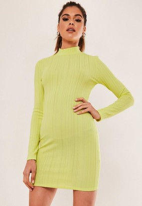 Missguided Petite Yellow Ribbed High Neck Mini Dress