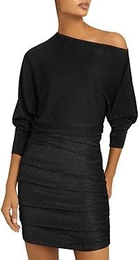 Reiss Anna Metallic One Shoulder Dress