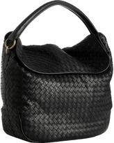 black woven leather fold-over shoulder bag