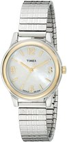 Timex Women's Elevated Classics T2N842 Silver Stainless-Steel Quartz Watch with Mother-Of-Pearl Dial