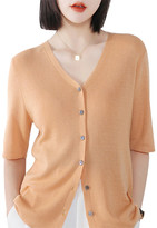 Lavidence Women's Cardigans camel - Camel Half-Sleeve Button-Up Cardigan - Women