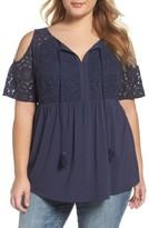 Daniel Rainn Plus Size Women's Lace Bodice Cold Shoulder Blouse