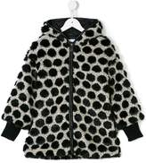 Elsy faux fur-trimmed polka dot coat