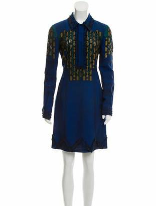 Bottega Veneta Embroidered Wool Dress w/ Tags Blue
