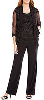 R & M Richards Draped Lace Mock 3-Piece Pant Set