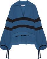 Sonia Rykiel Oversized Striped Ribbed Stretch-knit Sweater - Cobalt blue