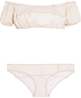Lisa Marie Fernandez Leandra Off-the-shoulder Stretch-denim Bikini - Cream