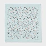 Paul Smith Men's Sky Blue 'Vine Floral' Cotton-Silk Pocket Square