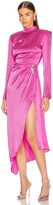 David Koma Open Back Ruched Front Asymmetric Dress in Fuchsia | FWRD