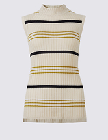 M&S Collection Striped Funnel Neck Sleeveless Jumper