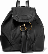 See by Chloe Polly Tasseled Whipstitched Textured-leather Backpack - Black