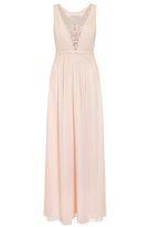 Quiz Nude Chiffon Embellished V Neck Maxi Dress