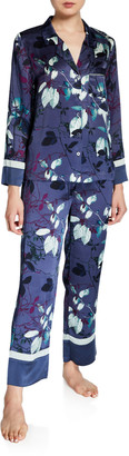 Neiman Marcus Two-Piece Floral-Printed Silk Pajama Set with Contrast Cuff