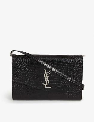 Saint Laurent Uptown monogram croc-embossed leather wallet-on-chain