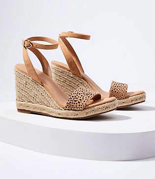 11cadca8390 LOFT Cheetah Print Ankle Strap Espadrille Wedge Sandals