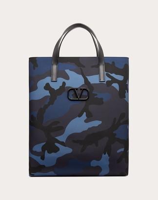 Valentino Garavani Uomo Camouflage Nylon Tote Bag Man Blue Polyurethane 65%, Polyester 30%, Viscose 5% OneSize