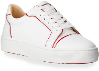 Christian Louboutin Men's Seavastissmo Low-Top Leather Red Sole Sneakers