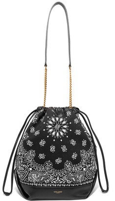 Saint Laurent Teddy Leather-trimmed Printed Canvas Bucket Bag - Black