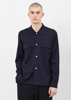 Our Legacy navy worsted wool box army shirt
