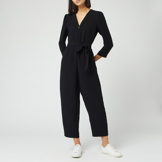 Whistles Women's Hallie Zip Front Crepe Jumpsuit