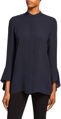 Lafayette 148 New York Graydon Flounce-Sleeve Button-Front Blouse