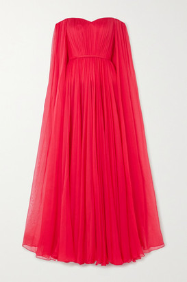 RALPH & RUSSO Off-the-shoulder Cape-effect Silk-chiffon Gown - Red