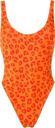 AMIR SLAMA Leopard-Print Open Back One Piece