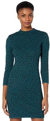 Milly Metallic Cheetah Dress (Lurex Lapis) Women's Clothing