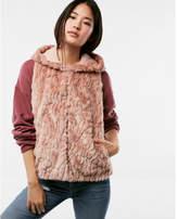 Express petite hooded faux fur vest