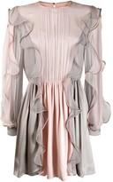 Alberta Ferretti panelled ruffle mini dress