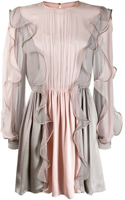 Alberta Ferretti Panelled Ruffle Mini Dress