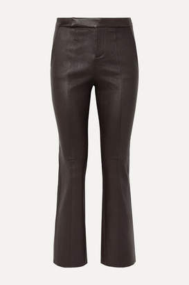 Equipment Sebritte Cropped Leather Flared Pants - Dark brown