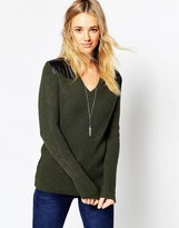 Asos Army Sweater In Rib With Satin Panels