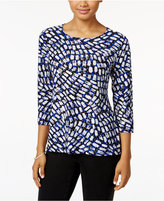 JM Collection Jacquard Three-Quarter-Sleeve Top, Only at Macy's