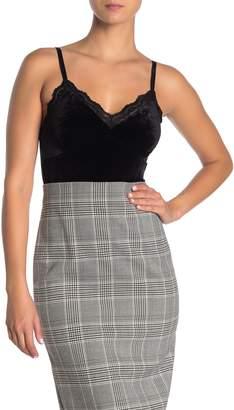 Dress Forum Velour Lace Trim Bodysuit